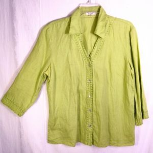 L  Edward Linen Lime Green Blouse Top Boho